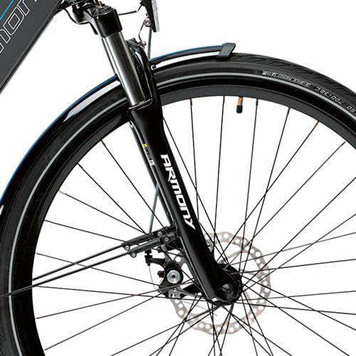horquilla amortizada y freno de disco - Bicicleta eléctrica Arese