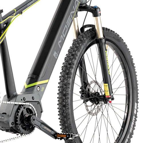 motor central, freno de disco y suspensión - Bicicleta eléctrica MTB Moena
