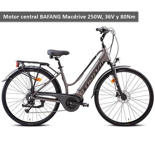 Bicicleta eléctrica urbana ALETA T266 de Torpado con motor central BAFANG